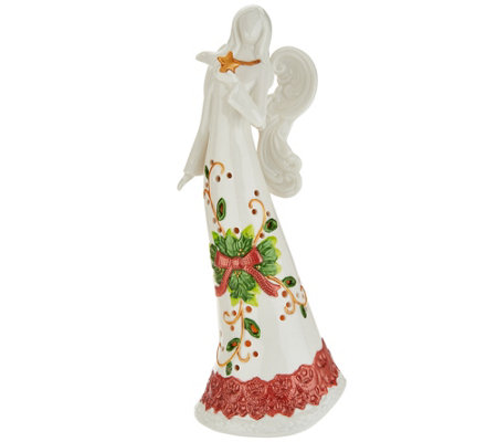 "14"" Porcelain Holiday Angel with Flameless Candle by Home Reflections"
