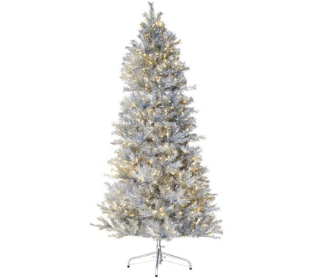 Santa's Best Sparkling LED Convertible 5'-7.5' Tree w/8 Functions