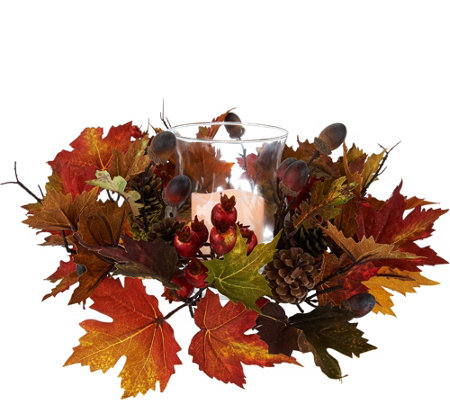 Flameless Candle Centerpiece w/ Leaves, Acorns and Berries