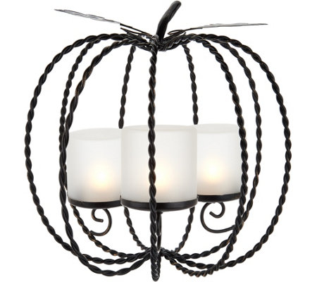 Metal Pumpkin Centerpiece w/ 3 Hurricanes and Tealights by Valerie