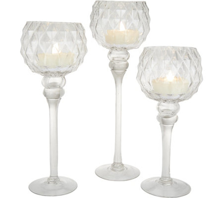 """As Is"" Dennis Basso Set of 3 Glass Chalices with Flameless Tea Lights"