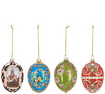 Joan Rivers 2018 Set of 4 Russian Inspired Egg Ornaments - H216199