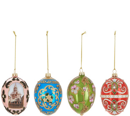 Joan Rivers 2018 Set of 4 Russian Inspired Egg Ornaments