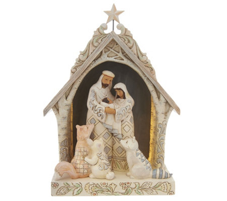 Jim Shore Heartwood Creek Woodland Nativity in Lighted Stable