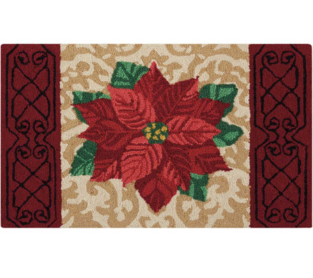 "Waverly 21"" x 33"" Beige Christmas Poinsettia Rug by Nourison"