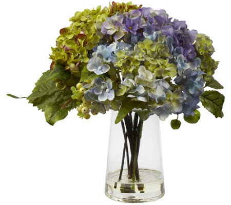 Hydrangea w/ Glass Vase Flower Arrangement by Nearly Natural