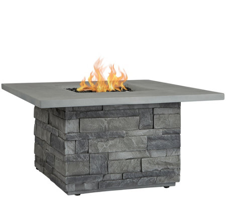 Real Flame Gray Ledgestone Square Fire Table
