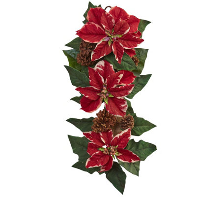 "25"" Poinsettia, Pine Cone Teardrop by Nearly Natural"