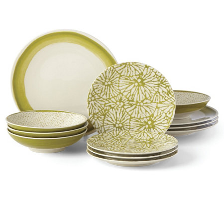 Lenox Market Place 12 Piece Dinnerware Set Moss