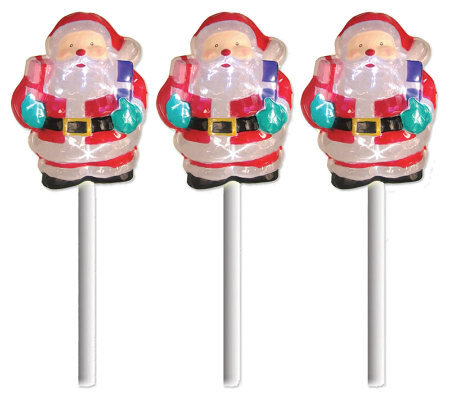 Set of 3 Battery Operated White Twinkling SantaPath Markers