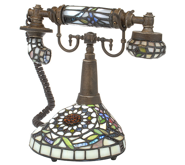 Handcrafted Tiffany Style 10 Inch Telephone Accent Lamp Page 1 Qvc