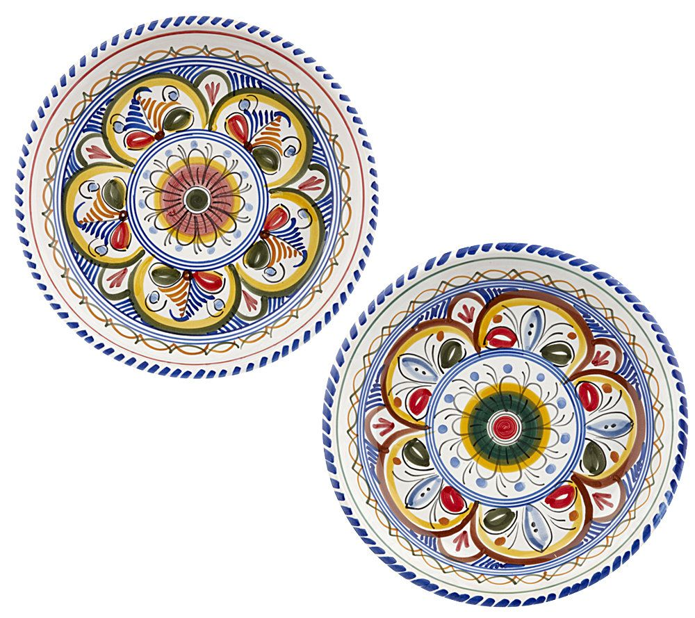 sc 1 st  QVC.com & Spanish Handpainted Ceramic Set of 2 Tapas Plates u2014 QVC.com