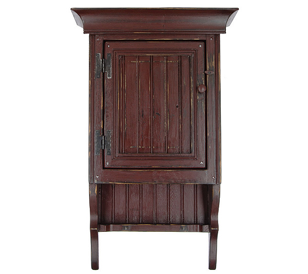 Country Style Handmade Wood Wall Cabinet With Shelf Product Thumbnail In Stock