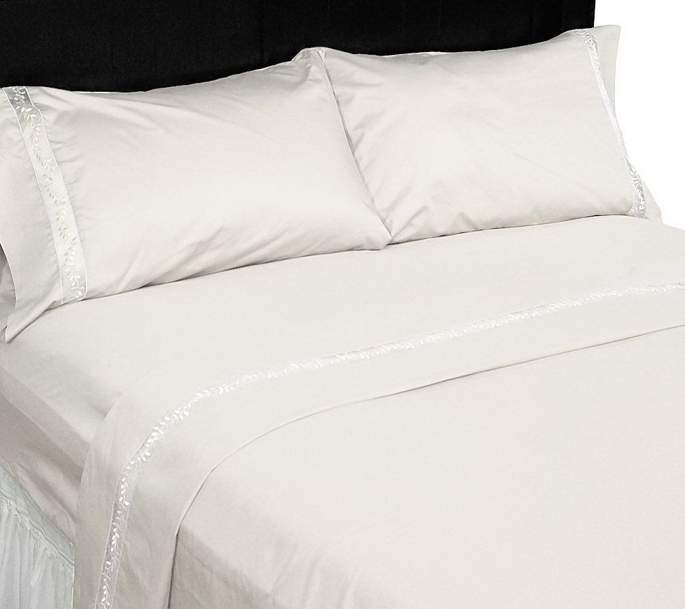 White bed sheets twitter header Classy In Stock Twitter Amadeus Organza Hem 400tc 100 Cotton Sheet Set Page Qvccom