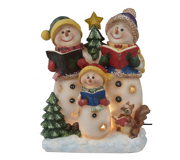 fiber optic snowman family tabletop figurine