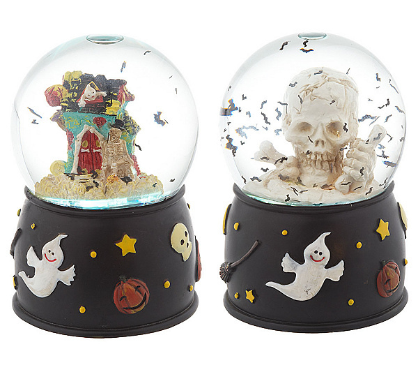 set of 2 spooky halloween water globes with lights page 1 qvccom