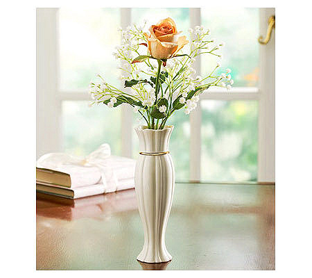 Lenox Say It With Silk Bud Vase And Rose By 1 800 Flowers Qvc