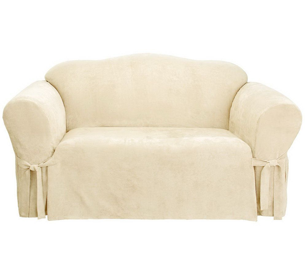 Beau Sure Fit Soft Suede Box Cushion Sofa Slipcover   Page 1 U2014 QVC.com