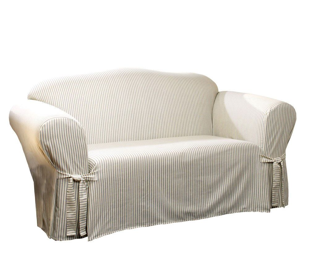 Sure Fit Ticking Stripe Sofa Slipcover U2014 QVC.com