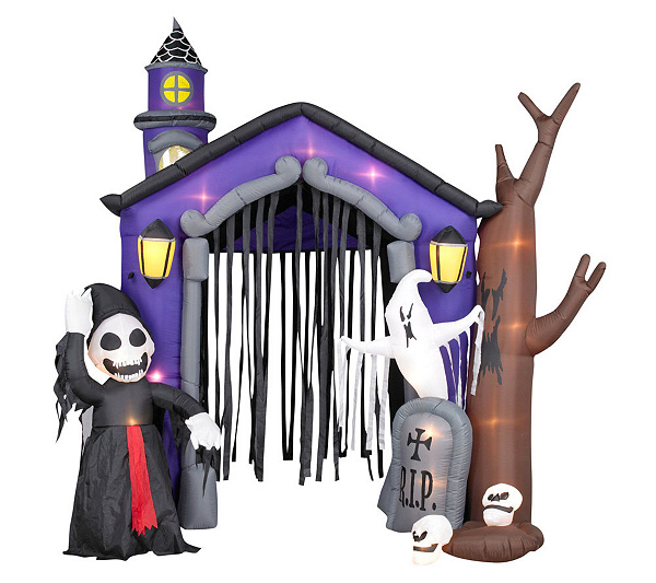 10 airblown inflatable haunted house wlight show and reaper qvccom