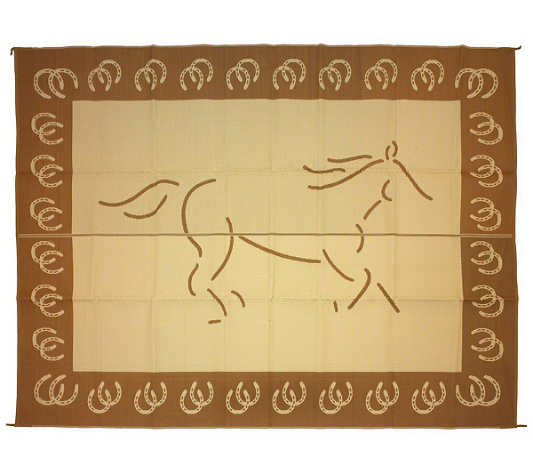 Weather Resistant 9 X 12 Horse Outdoor Reversible Patio Mat Page 1 Qvc