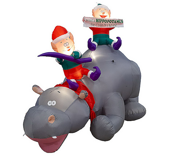 Hippopotamus christmas lawn decoration for Animated polar bear christmas decoration