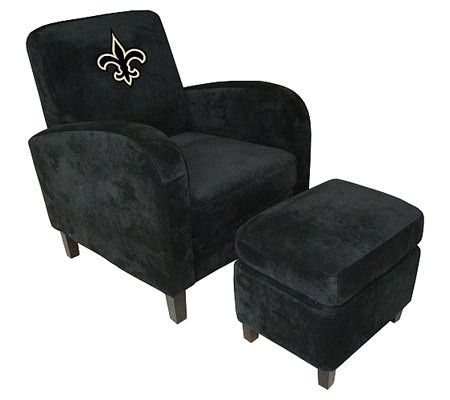 NFL New Orleans Saints Den Chair With Ottoman U2014 QVC.com