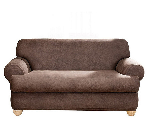 Sure Fit Stretch Faux Leather T Cushion Sofa Slipcover Qvc Com