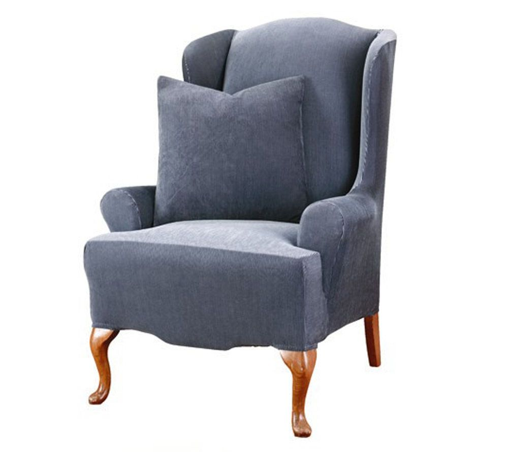 Sure Fit Stretch Stripe T Cushion Wing Chair Slipcover   Page 1 U2014 QVC.com
