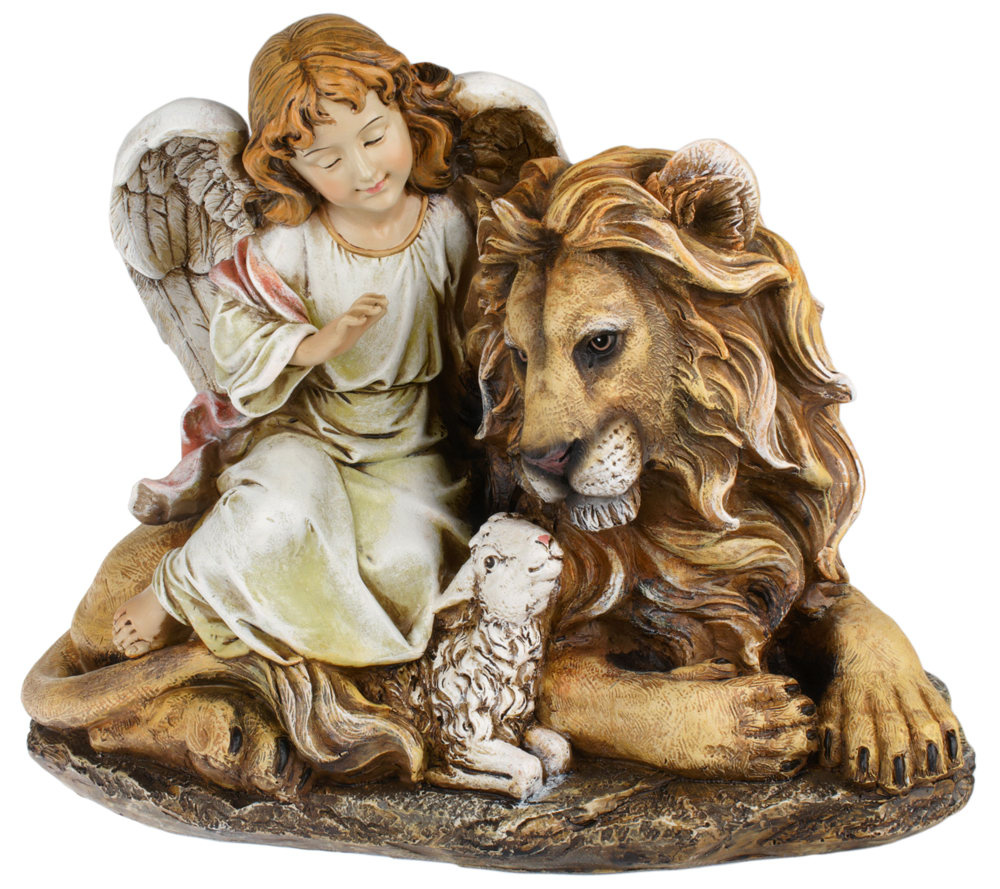 11 5 Angel With Lion And Lamb Figure By Roman Page 1 Qvc Com
