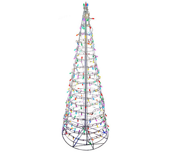 8' Pre-Lit Collapsible Outdoor Christmas Tree with LED Lights - 8' Pre-Lit Collapsible Outdoor Christmas Tree With LED Lights €� QVC.com