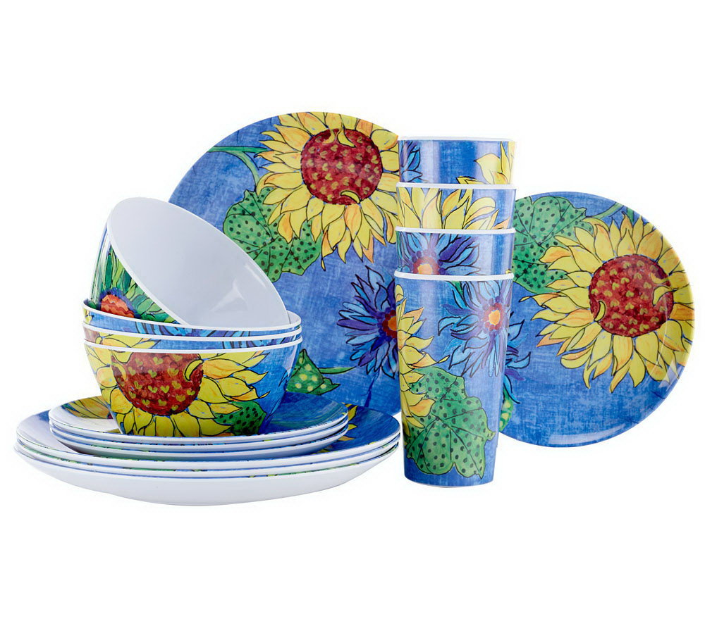 Blue Jean Chef 16 Pc Everyday Service For 4 Sunflower Dinnerware