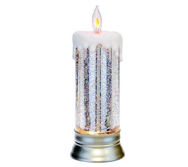 11 Lit Glitter Candle With Flickering Tip By Valerie