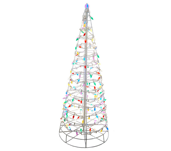 Collapsible Christmas Tree.Pre Lit Collapsible Outdoor Christmas Tree With Led Lights Qvc Com
