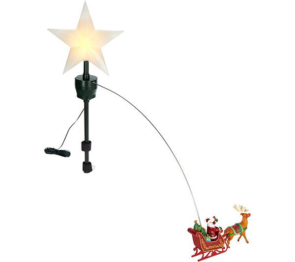 Mr. Christmas Animated Lit Revolving Santa & Sleigh Tree Topper. Back to  video - Mr. Christmas Animated Lit Revolving Santa & Sleigh Tree Topper