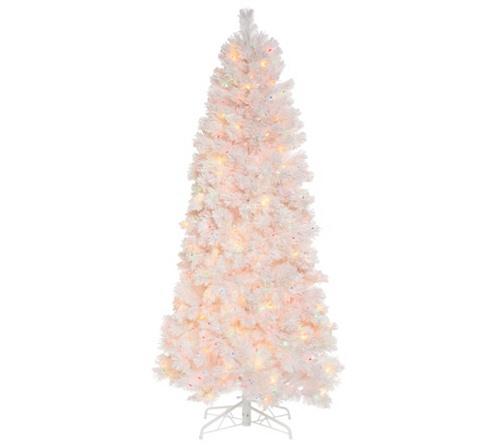 bethlehem lights prelit 65 slim pine snowy white christmas tree page 1 qvccom