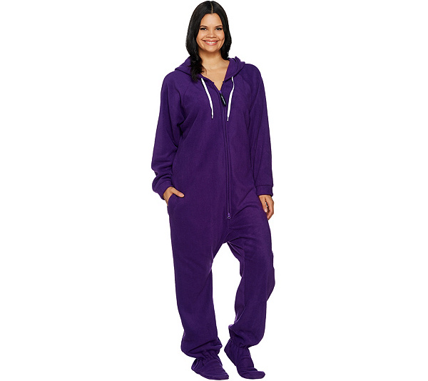 Forever Lazy Fleece Footed Adult Onesie with Pockets - Page 1 — QVC.com 2b3ed3eac