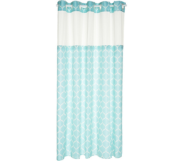 EZ ON By Hookless Ogee Print Design Shower Curtain With Liner Back To Video