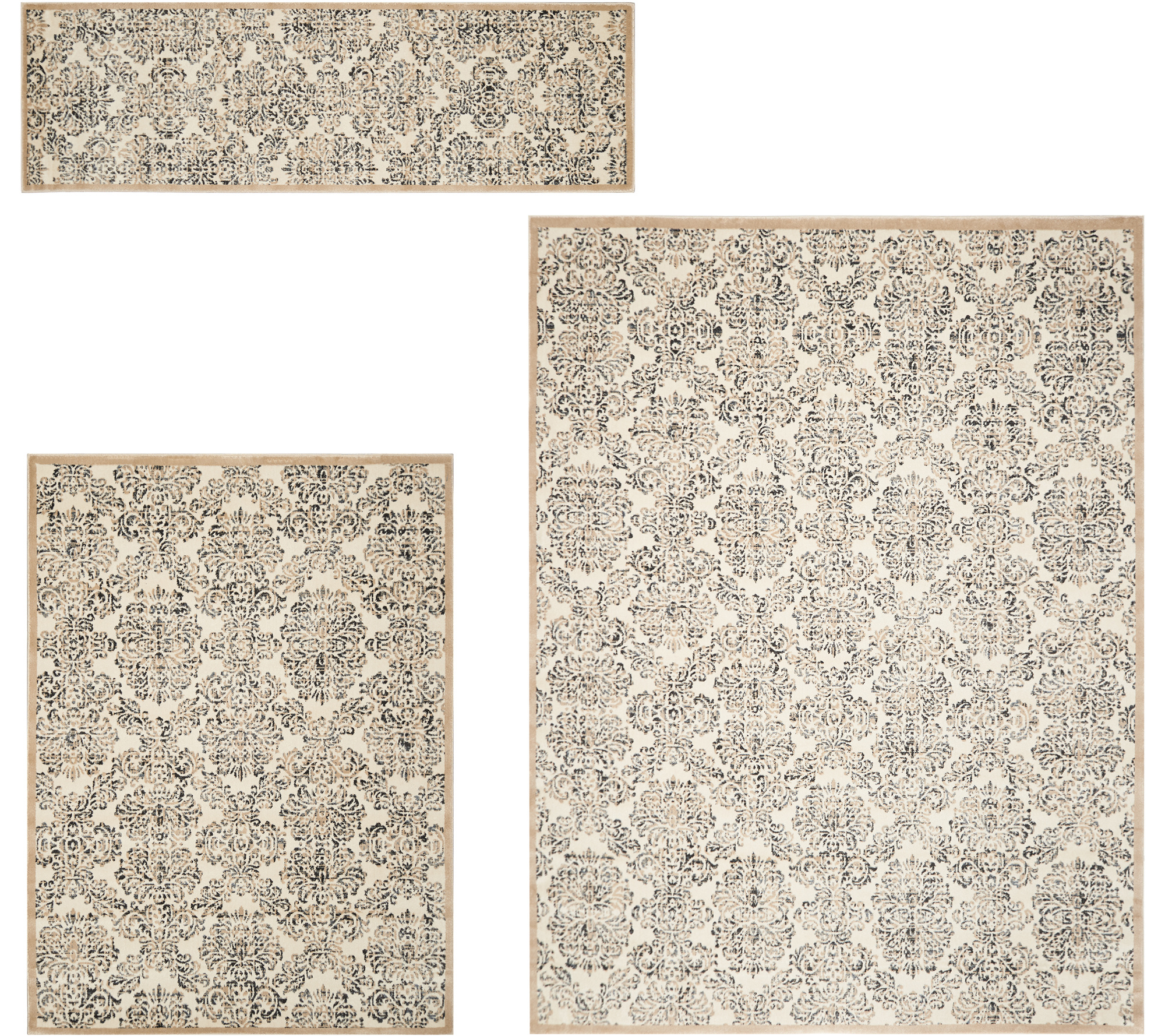 Inspire Me Home Decor Designer Vintage Damask Area Rugs