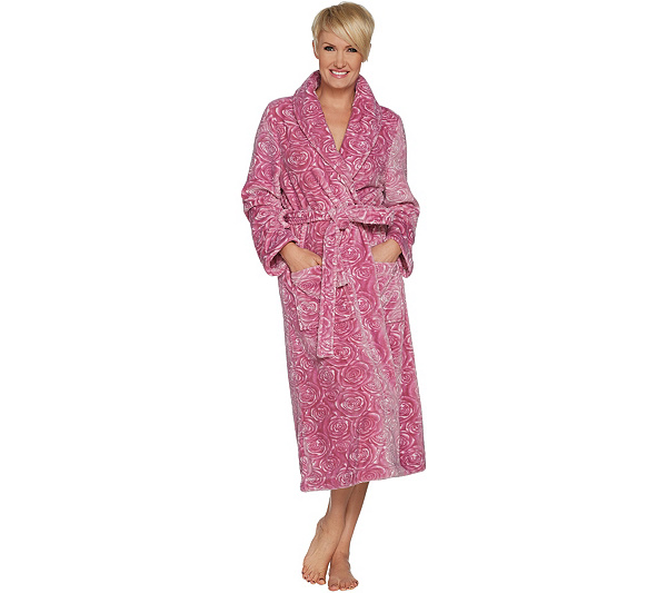 Casa Zeta-Jones Velvet Soft Signature Rose Robe - Page 1 — QVC.com 7396e85d8