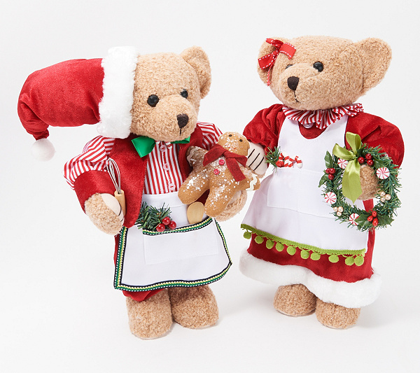 Christmas Bear.As Is Set Of 2 Candy Kitchen Christmas Bears By Valerie Qvc Com