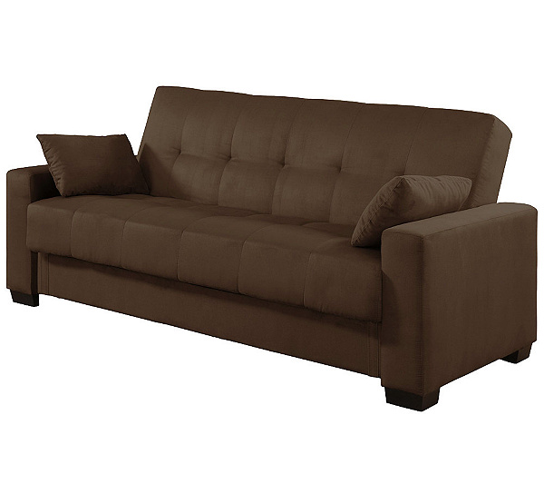 Serta Sonia Micro Suede Brown Click Clack Convertible Sofa Page 1 Qvc Com