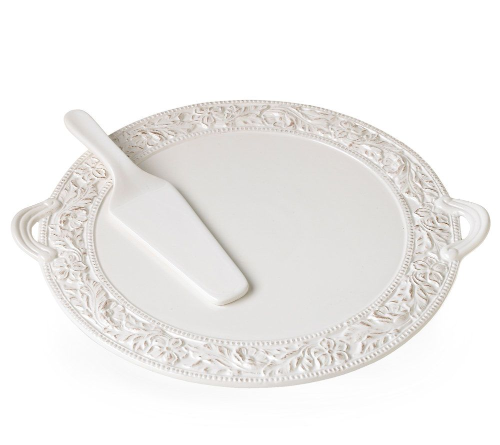 sc 1 st  QVC.com & Pfaltzgraff Country Cupboard Flat Cake Plate with Server u2014 QVC.com