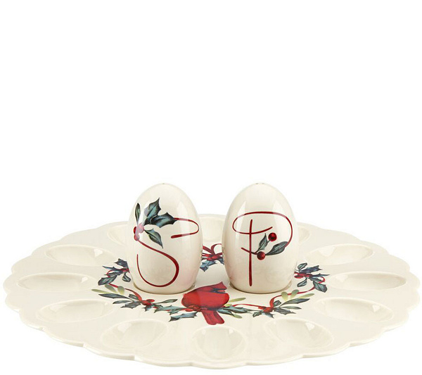Lenox winter greetings egg platter with salt and pepper shake page lenox winter greetings egg platter with salt and pepper shake page 1 qvc m4hsunfo