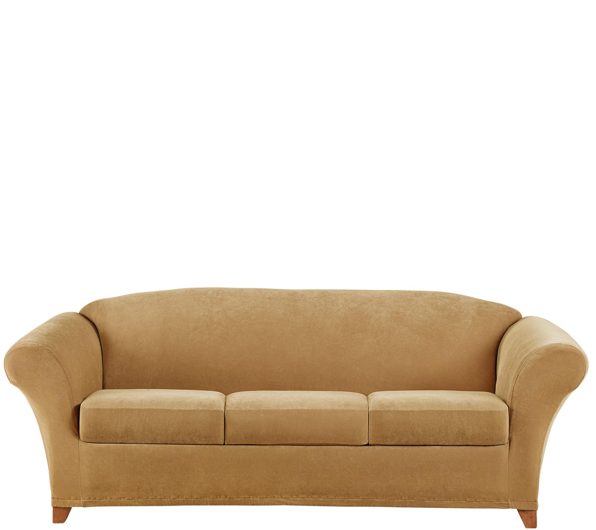 Sure Fit Stretch Pique 3 Seat Sofa Slipcover Qvc Com