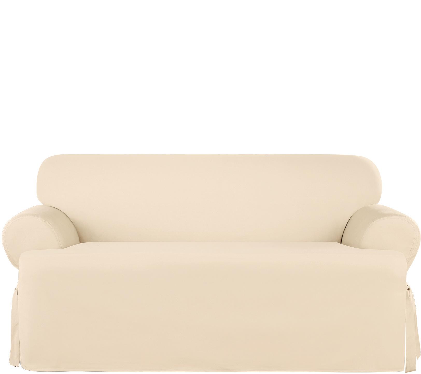 Sure Fit Heavyweight Cotton Duck T Cushion Loveseat Slip Cover Qvc Com