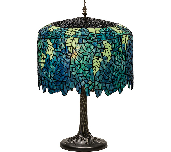 Meyda tiffany style 28 wisteria table lamp qvc mozeypictures Image collections