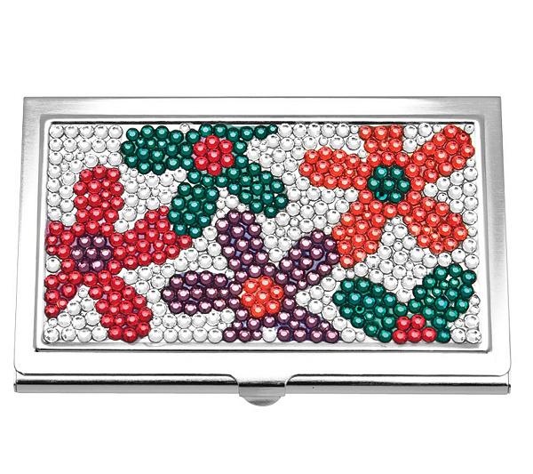 Floral swarovski crystal business card holder qvc colourmoves