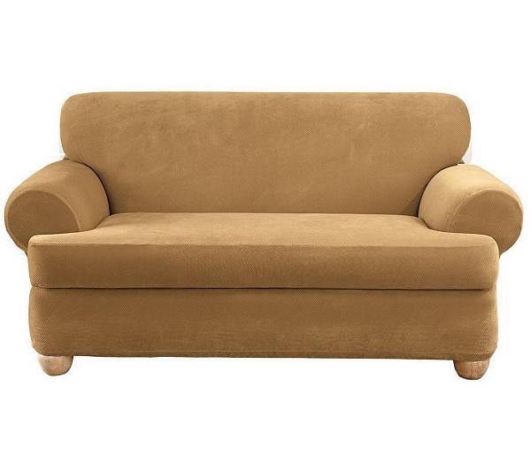 Sure Fit Stretch Pique 3-Piece T-Cushion Sofa Slipcover — QVC.com