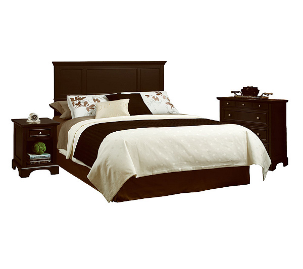 Home Styles Bedford Black Queen Headboard Nightstand Ches Qvc Com